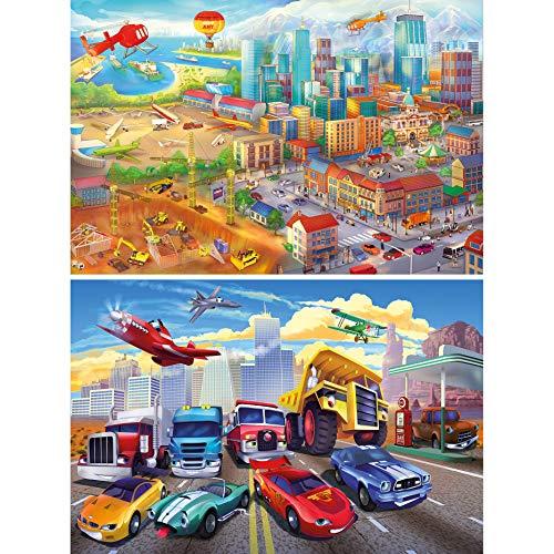 GREAT ART Lot De 2 Affiches XXL – Pour Enfants Décoration Murale Ville Illustration & Voitures – Construction D'avion Avion Camion De Pompiers Désert (140 X 100cm)