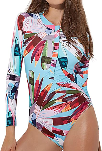 Women/'s Surf Rash Guard One Piece Manche Longue Amincissant Protection UV Maillot de bain