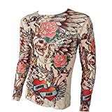 SHINA Tattoo Long Sleeve T-Shirt for Men Elastic Suitable Sport and Fitness Adjustable (L49)