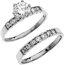 10k White Gold Diamond Engagement and Wedding Ring Set with 1 Carat White Topaz Solitaire Centerstone