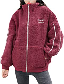 Women Fleece Coats Padded Lamb Casual Letter Print Embroidered with Pockets Tops E-Scenery