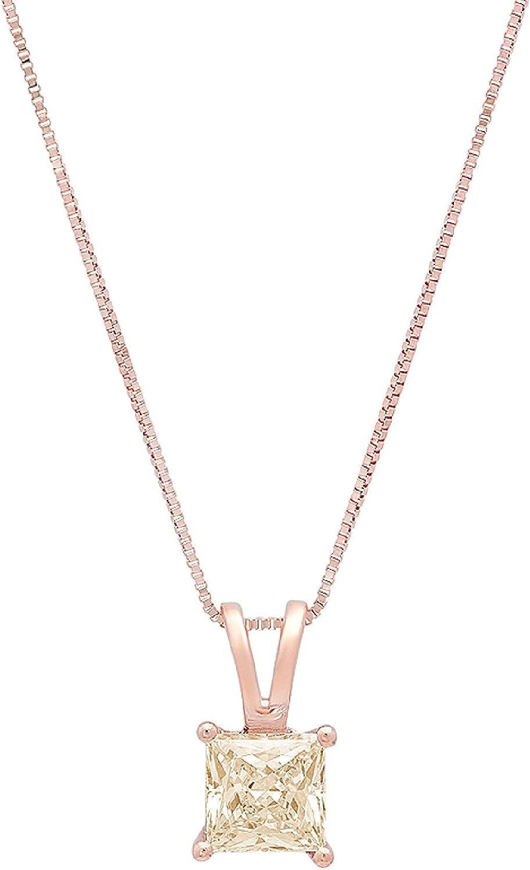 2.95ct Brilliant Princess Cut Designer Yellow Moissanite Gem Ideal VVS1 D Solitaire Pendant Necklace With 16