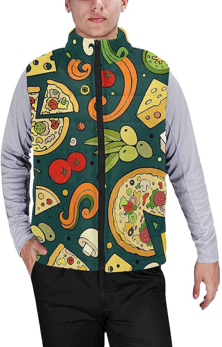 InterestPrint Men's Full-Zip Soft Warm Winter Outwear Vest Cartoon Rolls and Sushi