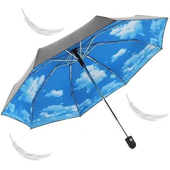 折りたたみ傘 軽量傘 自動開閉メンズ レディース 日傘 晴雨傘 8本骨 ワンタッチ シンプル 折れにくい 濡れない晴雨両用 遮光 遮熱 耐風撥水 収納ポーチ付き ギフト (青い空と白い雲)