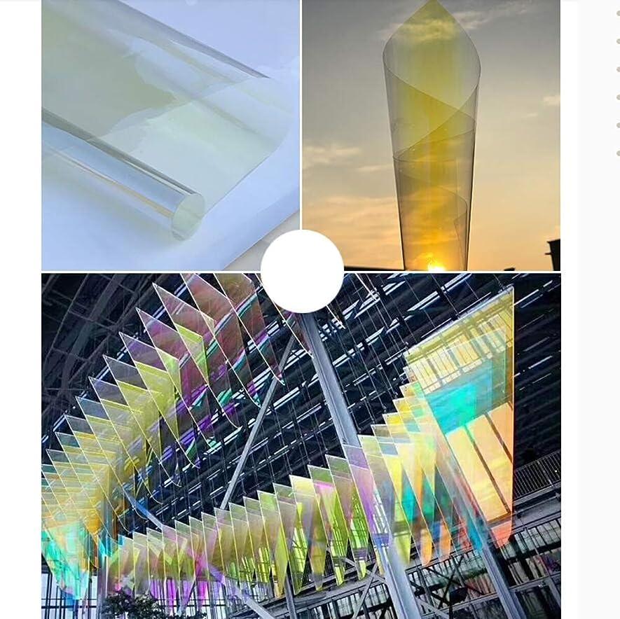 イブニングスラム街うなずく着色された自己接着性のウィンドウフィルム、誕生日パーティーのウェディングコンサートやさまざまなフェスティバル ラッピング用の滑らかなガラス表面用のセロハンシート,イエロー,70x200cm