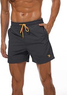 YSENTO Mens Beach Shorts Quick Dry Swim Trunks Board Shorts Mesh Lining