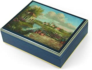 Handcrafted Italian Ercolano Musical Jewelry Box - Over 400 Song Choices - A View of Tuscany by Dennis Patrick Lewan Fly Me to The Moon