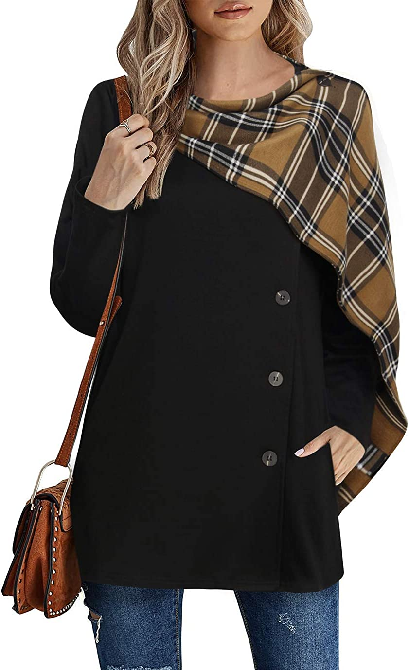 Timeson Women's Button Down Tunic Top Open Front Cardigan with Plaid Scarf