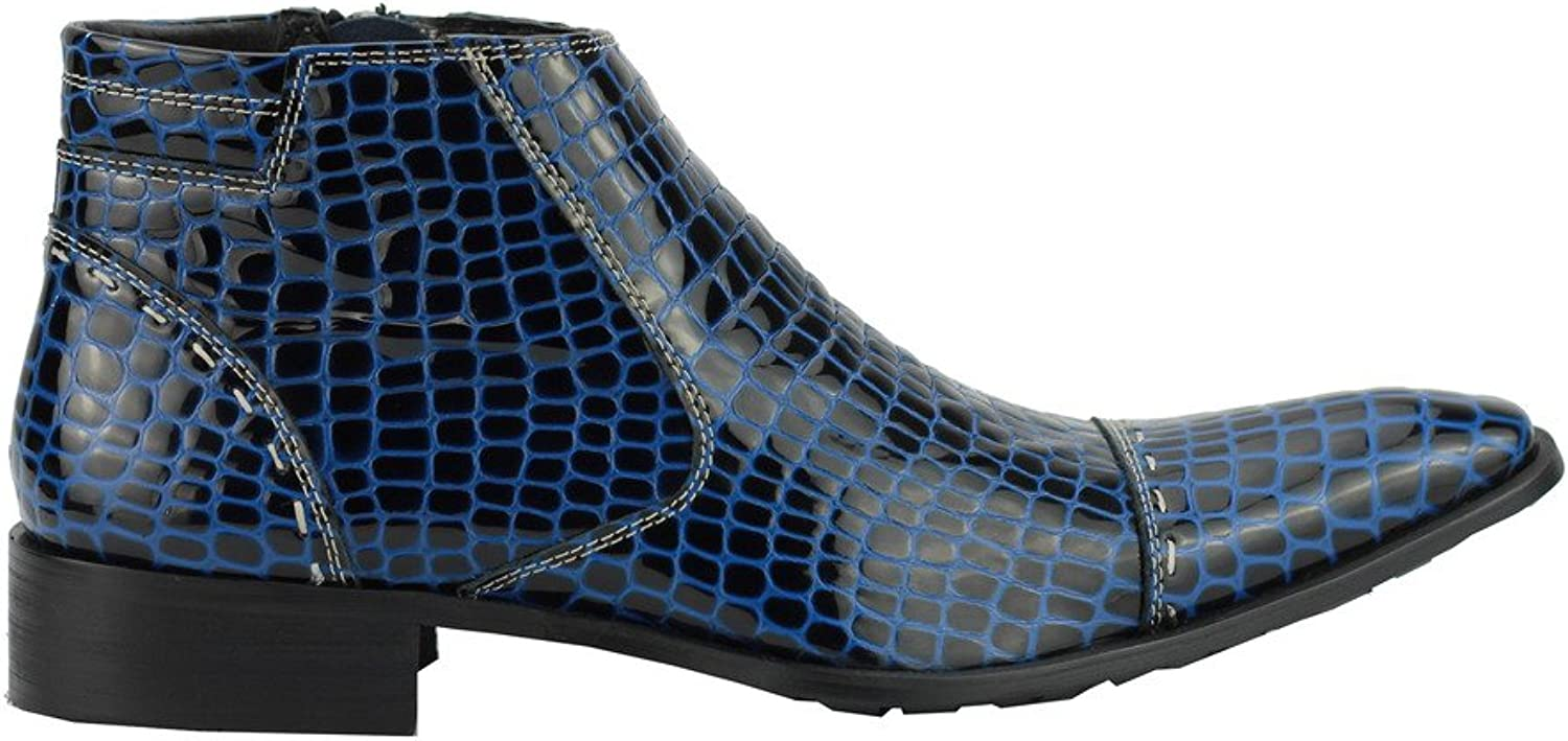 Mens Red bluee Leather Snakeskin Effect Hi Shine Zip Ankle Boots Pointy MOD shoes