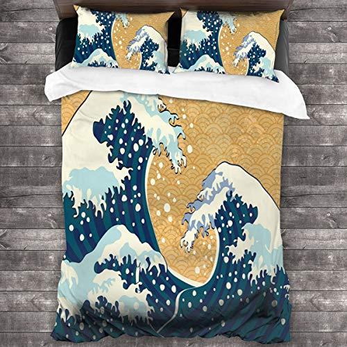 LISNIANY Funda De Edredón,Tormenta De Mar En Japón Dibujo Tradicional Grandes Olas Espumosas,3 Pcs Ropa de Cama Funda Nórdica Sábana Bajera (220 * 240CM)