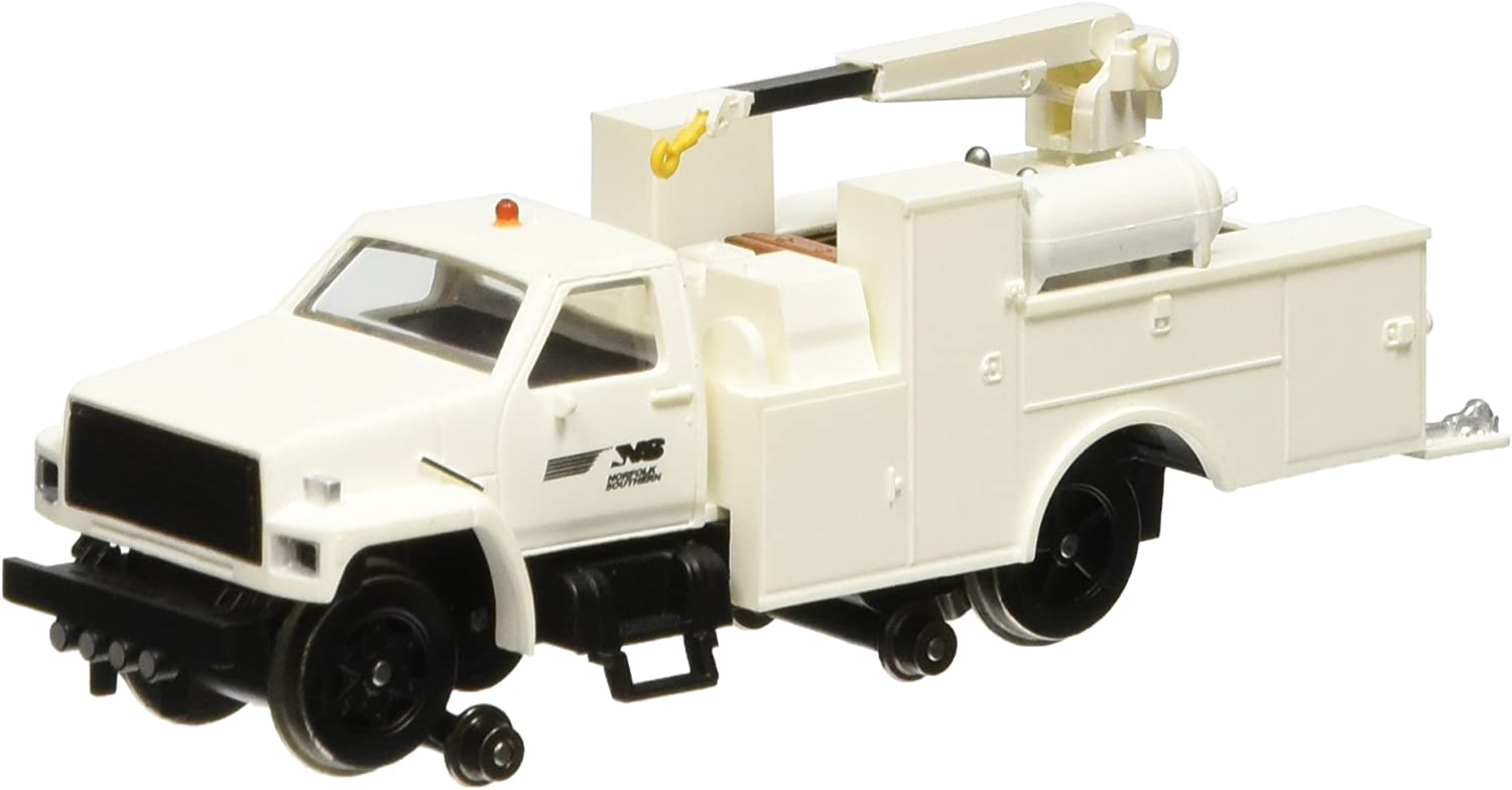 Bachmann Industries Maintenance of Way Hi Rail Equipment Truck with Crane DCC Equipped Norfolk Southern Train, White, HO Scale