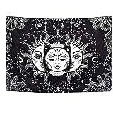 N / A Tapiz de Sol y Luna Negro Blanco Tapiz Celestial Tapiz Hippie Tapiz de Tarot decoración de Dormitorio Tapiz psicodélico Tapiz A19 130x150cm