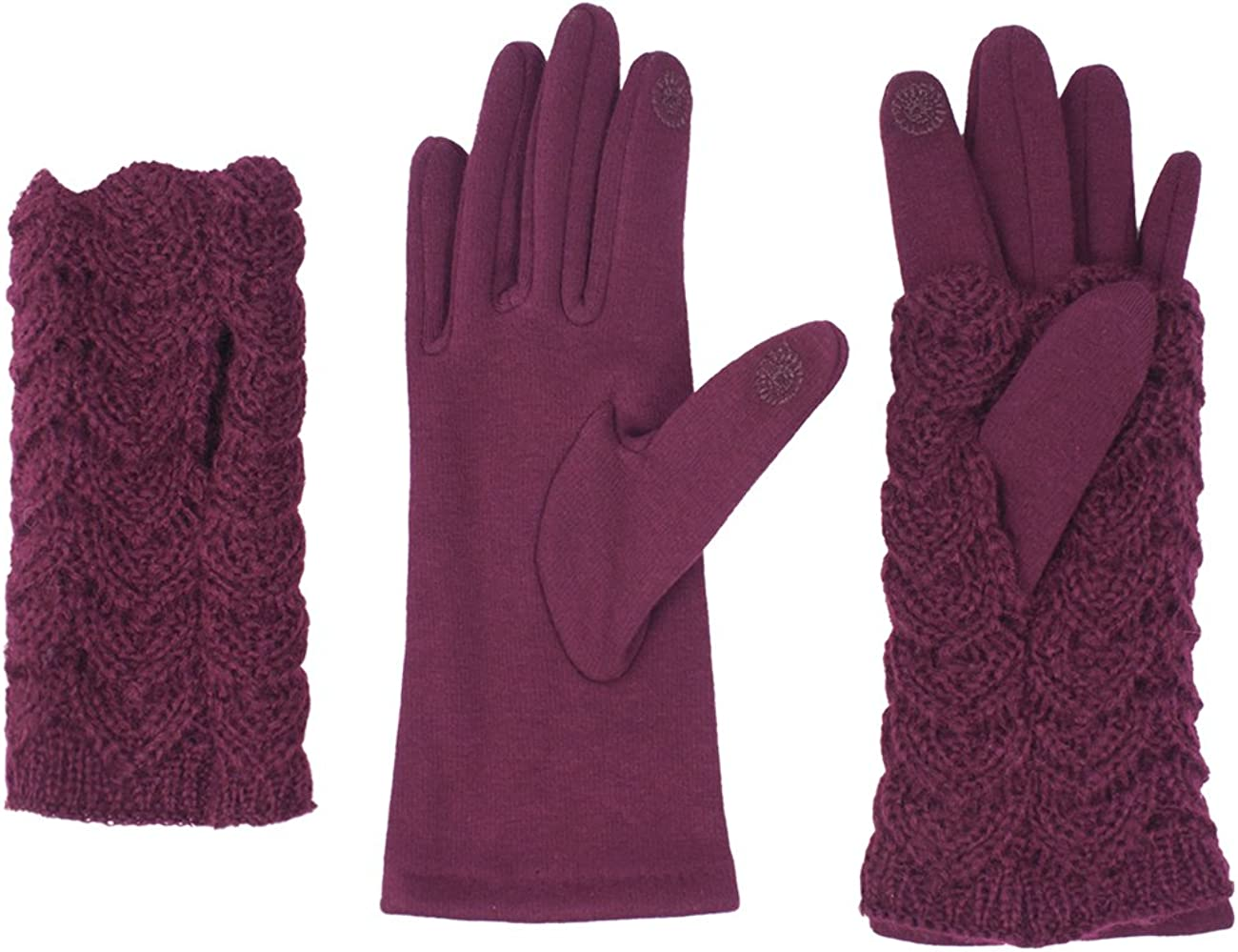 Dahlia 2 in 1 Touchscreen Gloves for Women - Fleece Lined with Hand Warmers