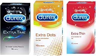 Durex Extended Pleasure (12s), Feel Thin (12s) And Excite Me (12s) Condoms- (Combo Of 3)