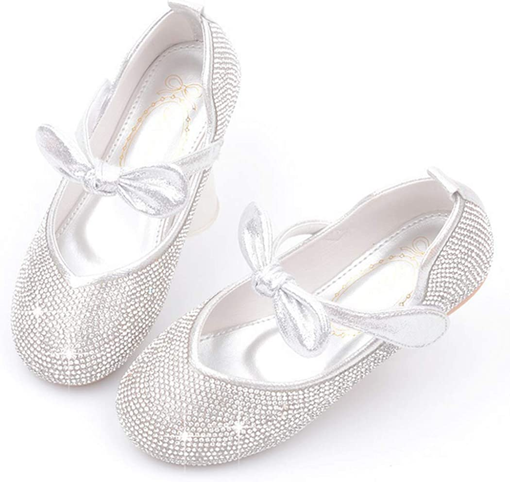 LFHT Girls Glitter Rhinestone Party Wedding School Uniform Ballerina Ballet Mary Janes Flats Dress Shoes (Toddler/Little Kid)