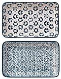 Bloomingville Servierplatten rechteckige Teller Kristina 2er Set saphirblau