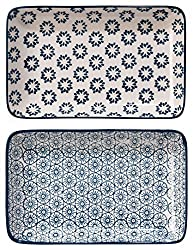 Bloomingville platters rectangular plates Kristina 2er set sapphire blue