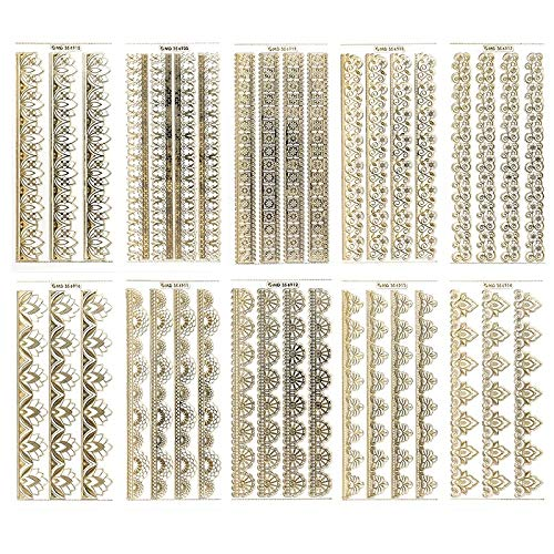Gravur-Sticker, transparent/gold, 10 Bogen à 10 x 23 cm | Goldene Aufkleber zum Basteln & Dekorieren, Scrapbooking | Karten & Geschenke zu...