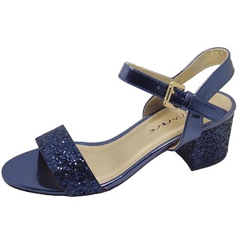 e79806e21de5 Divine Ladies Glitter Sparkle Block Heel Evening Sandals Shoes