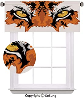 "Eye Window Valance,Tiger Eyes Graphic Mascot Animal Face Bengal Cat African Safari Predator Theme Decorative Curtain Valance for Kitchen Bedroom Decor with Rod Pocket,52""x 18"",Orange Yellow Black"