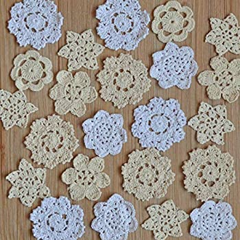 SouthMage 36 Hand Crochet Small Snowflake Petal Lace Doilies Lot for DIY Crafts