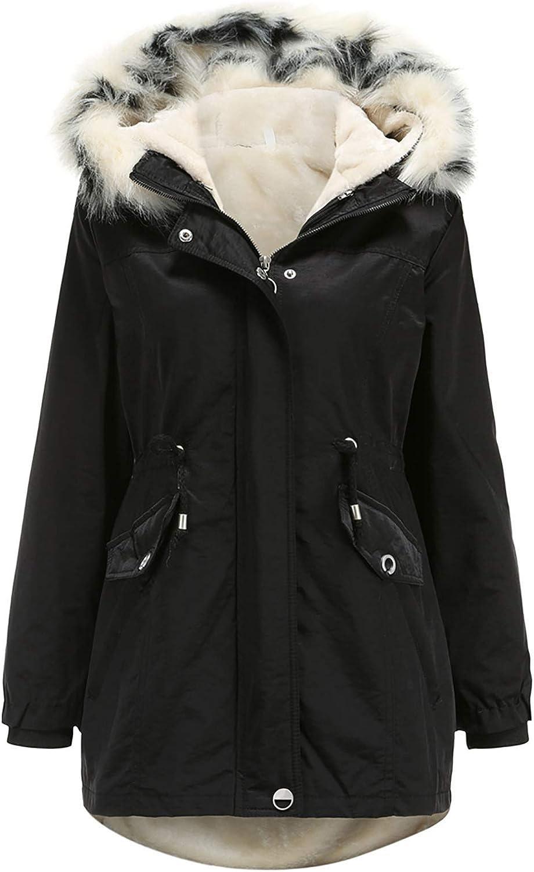 Women's Winter Removable Liner Detachable Hat Warm Plus Fleece Cotton Jackets Coat Outerwear