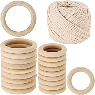 """2 Size 20 PCS Unfinished Solid Wooden Rings Wooden Teething Ring Natural Wood Teething Rings and 54 Yard Macrame Cotton Cord Twisted Cotton Rope,1/6"""" Wide"""