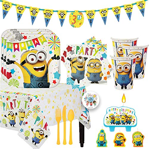 Despicable Me Minions Birthday Party Supplies and Decoration Pack For 16 With Plates, Cups, Napkins,