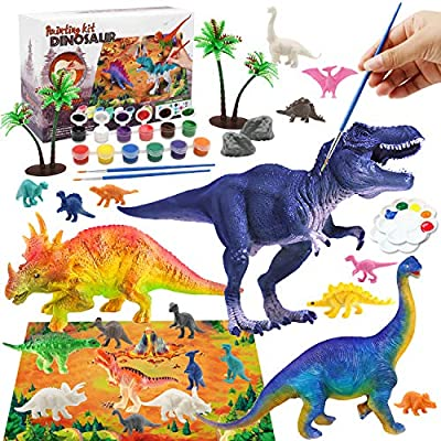 Kids Crafts Dinosaur Toys for Kids 3-5 Arts and Crafts for Kids Paint Set, Kids Art Set Dinosaur Craft Kit for Kids with Play Mat, Dinosaur Figures Kids Toys Kids Activities for Age 6 7 8 9 10 11 12