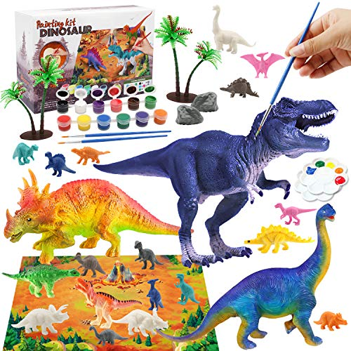 Kids Crafts Dinosaur Toys for Kids 35 Arts and Crafts for Kids Paint Set Kids Art Set Dinosaur Craft Kit for Kids with Play Mat Dinosaur Figures Kids Toys Kids Activities for Age 6 7 8 9 10 11 12