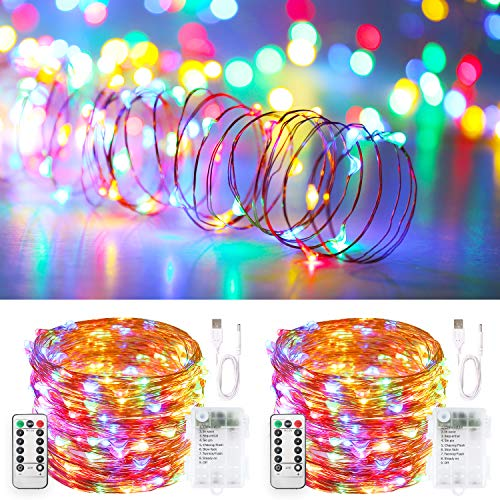 Blingstar Fairy Lights USB and Battery Operated String Lights 33ft 100 LED Christmas Lights Remote Control Timer 8 Modes Firefly Lights 2 Pack Multicolor Fairy String Lights for Bedroom Wedding Decor