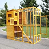 COZIWOW Large Wooden Outdoor Pet Cat Enclosure Catio with Multi-Tier Retreat and Safe Run, Multiple Doors, Two Ramps, Burlywood
