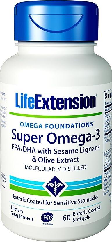 寝具スカート不純SUPER OMEGA-3 EPA/DHA W/SESAME LIGANS & OLIVE EXTRACT EXTERIC COATED 60 SOFTGELS 海外直送品