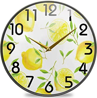 Naanle Fresh Lemons and Leaves Round Wall Clock, 9.5 Inch Silent Battery Operated Quartz Analog Quiet Desk Clock for Home,...