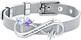 Women Men Stainless Steel/18K Gold Plated Mesh Chain Belt Buckle Bracelet Bangle, Customized Name Initial Jewelry Gift