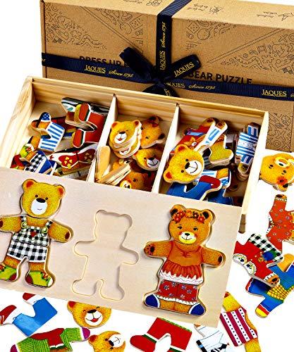 Jaques Von London Bear Dress Up Wooden Puzzle - Perfektes Holzspielzeug 2 3 4 Jahre - Mix and Match und Sortierspiel - Seit 1795
