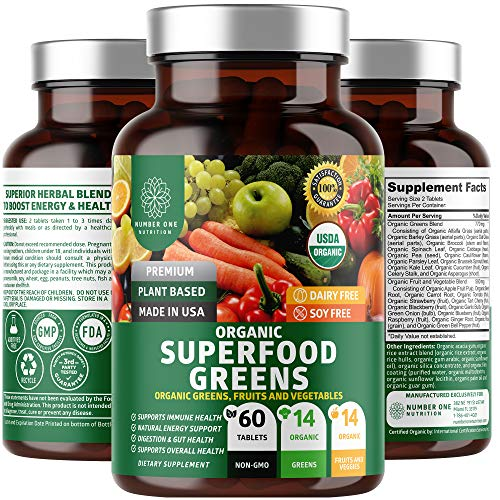 N1N Premium Organic Superfood Greens, Fruits & Veggies [28 Powerful Ingredients] All Natural Superfood Supplement with Alfalfa, Beet Root & Tart Cherry to Boost Energy, Immunity & Gut Health, 60 Count