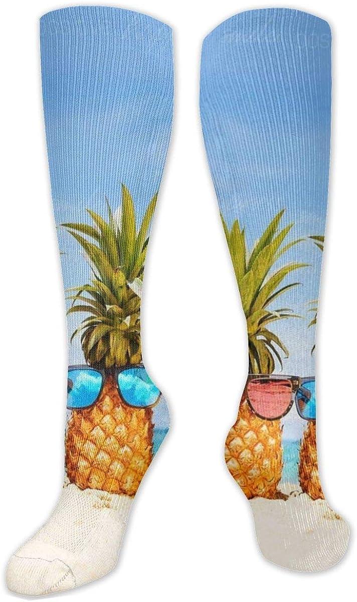 Interesting Hawaiian Pineapple Knee High Socks Leg Warmer Dresses Long Boot Stockings For Womens Cosplay Daily Wear