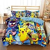 Parure de lit pour enfant, Pikachu, Pokémon pour garçon, fille, housse de couette, taie d'oreiller, 3 ensembles de couette, drap de lit, drap-housse en microfibre et coton renforcé, 5, 135 x 200 cm