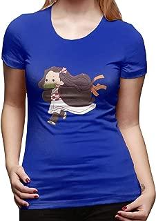 UXUEYING Demon Slayer Kimetsu No Yaiba Nezuko Runing T-Shirt Blouses Women Short Sleeve Tops
