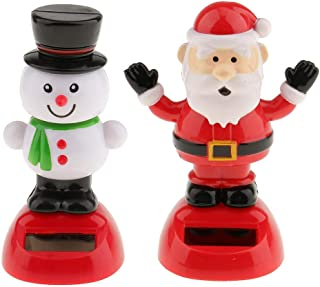 KODORIA 2pcs Solar Powered Toy Christmas Snowman & Santa Claus Swinging Bobble Toy Gift for Car Decoration Novelty Happy Dancing Solar Animated Toys