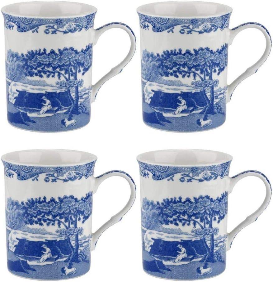 Blue Italian Set 無料サンプルOK of 4 Mugs 8.5 12 予約販売 and Porcelain x White