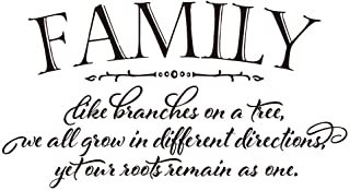 ZSSZ Family Like Branches on a Tree we All Grow in Different Directions Yet Our Roots Remain as one - Vinyl Wall Decals Qu...