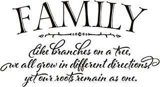 ZSSZ Family Like Branches on a Tree we All Grow in Different Directions Yet Our Roots Remain as one - Vinyl Wall Decals Quotes Handwriting Art Letters Wall Sayings Home Décor