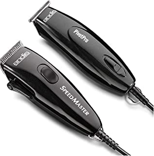 Andis Pivot Motor Adjustable Blade Clipper/Trimmer Hair Cutting Combo Kit, Black (24075)