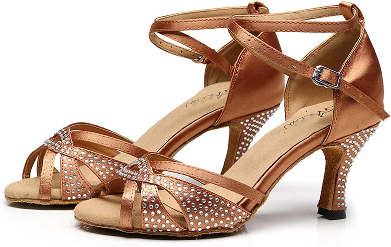 GIY Women's Satin Rhinestone Latin Salsa Tango Heel Dance Sandals Morden Ballroom Ladies Dancing shoes