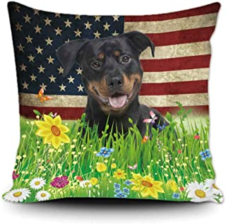 BAGEYOU Spring Flowers and Lawn Dog Throw Pillow Cover Lovely Pet Rottweiler American Flag Background Decor Home Patriotic...