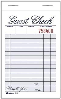 """Adams Guest Check Pad, una parte, blanco, 3-11/32"""" x"""