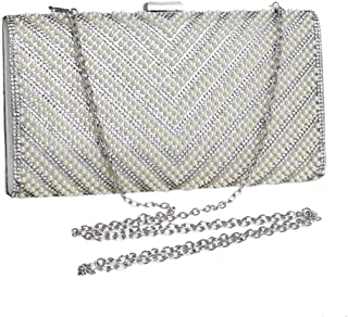 Ladies Banquet Bag Personality Ladies Evening Dress Clutch Bag Pearl Accessories Evening Bag Hand Holding Shoulder Slung Banquet Bag Bride Mobile Phone Bags Good-Looking (Color : Black)
