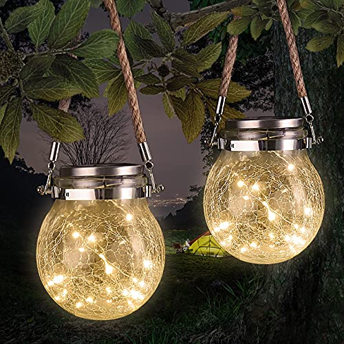 Czemo Luz Solar Exterior, 2 Pack 20 LED Lamparas Solares IP65 Impermeable Luces Solares LED Exterior Jardin Lámparas, Interiores/Exteriores Decoración Lámpara para Jardín Balcón Terraza Fiesta